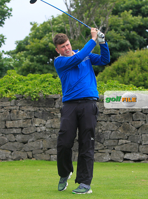 Conor Ruane (Galway) on the 1st tee during R2 of the 2016 Connacht U18 Boys Open, played at Galway Golf Club, Galway, Galway, Ireland. 06/07/2016. <br /> Picture: Thos Caffrey | Golffile<br /> <br /> All photos usage must carry mandatory copyright credit   (&copy; Golffile | Thos Caffrey)
