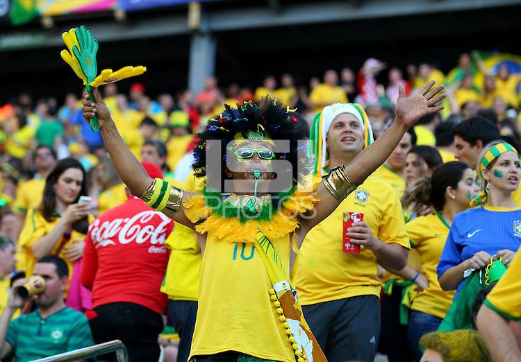 A Brazilian fan cheers his side on