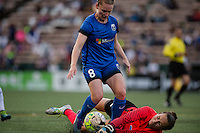 Seattle, WA - Saturday, July 02, 2016: Seattle Reign FC midfielder Kim Little (8) and Boston Breakers goalkeeper Jami Kranich (2) during a regular season National Women's Soccer League (NWSL) match between the Seattle Reign FC and the Boston Breakers at Memorial Stadium. Seattle won 2-0.