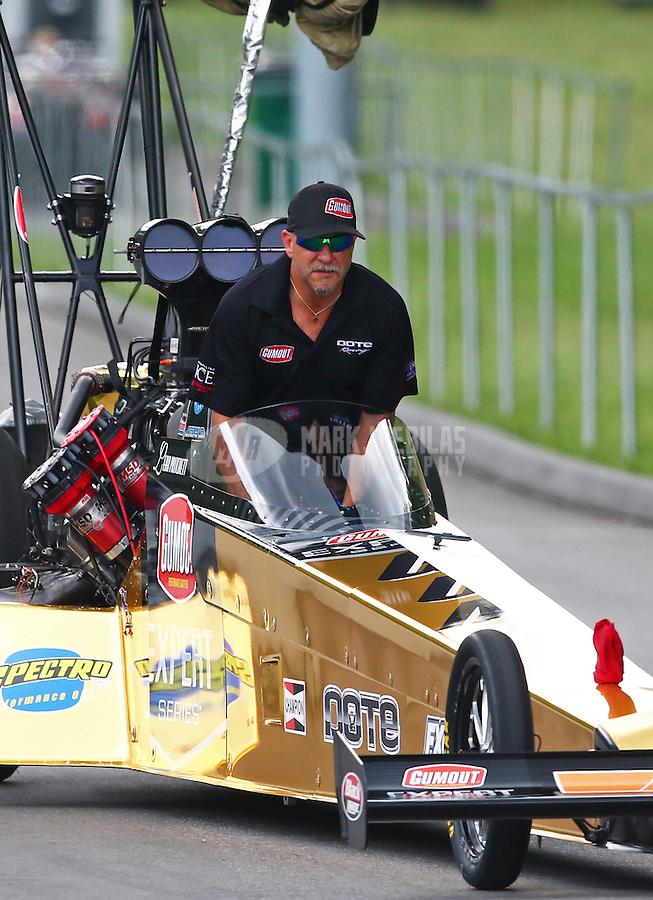 Jun 20, 2015; Bristol, TN, USA; NHRA top fuel driver Leah Pritchett being towed down the return road during qualifying for the Thunder Valley Nationals at Bristol Dragway. Mandatory Credit: Mark J. Rebilas-