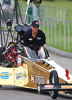Jun 20, 2015; Bristol, TN, USA; NHRA top fuel driver Leah Pritchett being towed down the return road during qualifying for the Thunder Valley Nationals at Bristol Dragway. Mandatory Credit: Mark J. Rebilas-