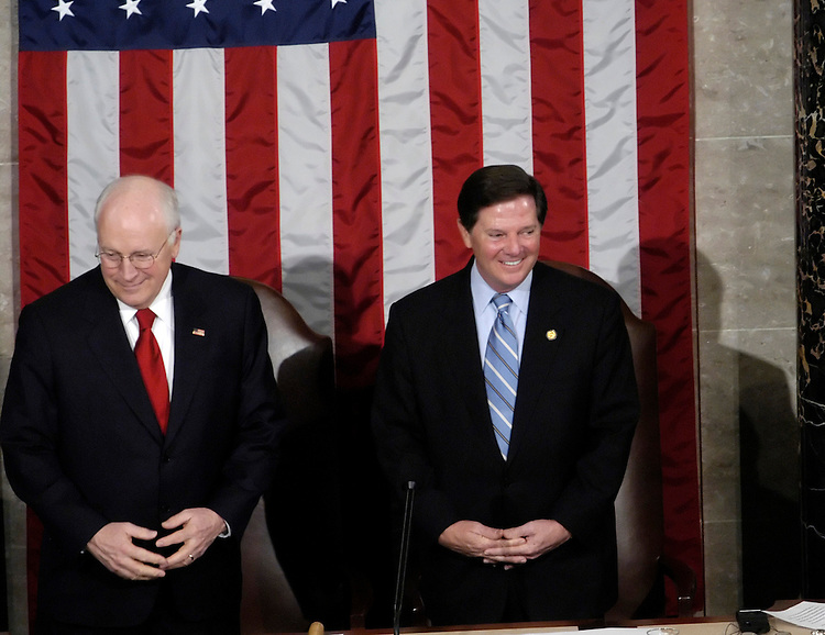 Vice President Dick Cheney and Rep. Tom DeLay, R-Tx., before Ukrainian Prime Minister Viktor Yushchenko joint session speech.