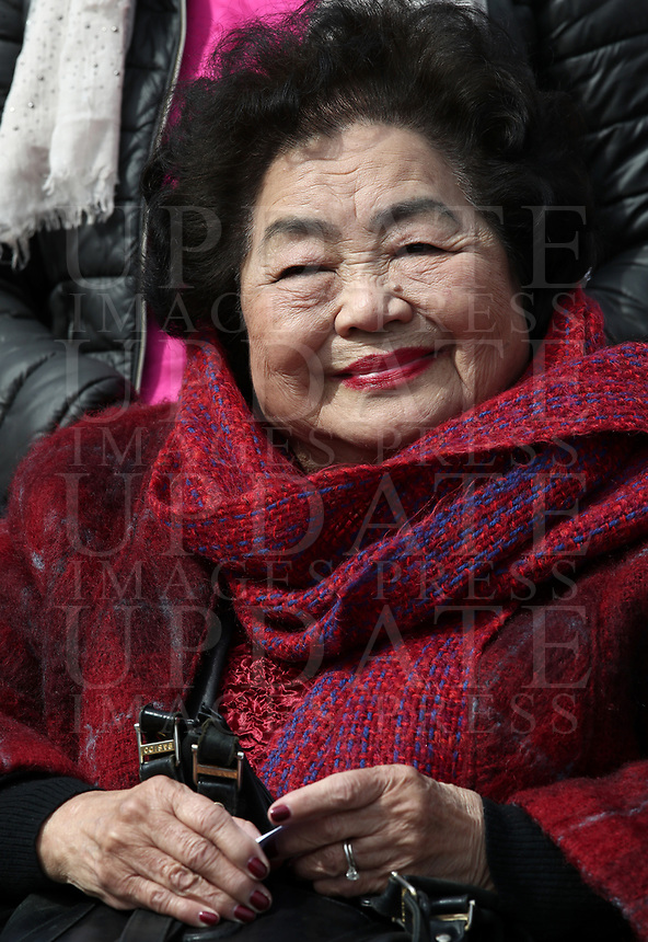 International Campaign to Abolish Nuclear Weapons (ICAN) activistsand Hiroshima survivor Setsuko Thurlow, Nobel Peace Prize in 2017, at the end of the weekly general audience in St. Peter's Square at the Vatican, on March 20, 2019.<br /> UPDATE IMAGES PRESS/Isabella Bonotto<br /> <br /> STRICTLY ONLY FOR EDITORIAL USE