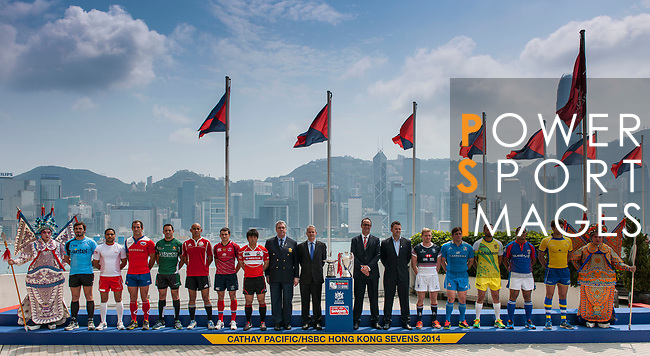Captains of participant teams pose during the Official Photo Call at Marco Polo Hotel ahead the Cathay Pacific/HSBC Hong Kong Sevens 2014 on 26 March 2014. Photo by Victor Fraile / Power Sport Images