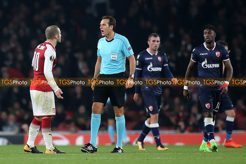 Arsenal's Jack Wilshere contests a decision from referee Luca Banti during Arsenal vs Red Star Belgrade, UEFA Europa League Football at the Emirates Stadium on 2nd November 2017