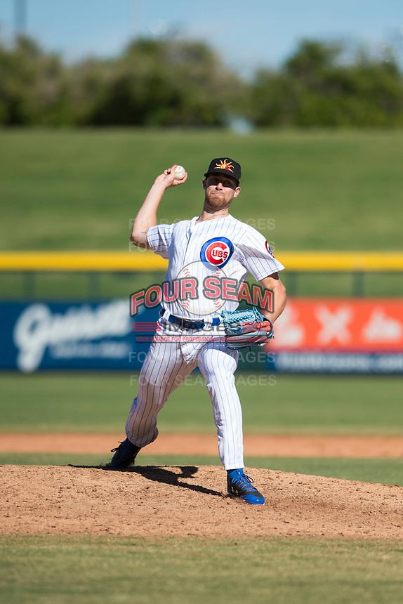 Mesa Solar Sox relief pitcher Bailey Clark (35), of the Chicago Cubs organization, delivers a pitch during an Arizona Fall League game against the Glendale Desert Dogs at Sloan Park on October 27, 2018 in Mesa, Arizona. Glendale defeated Mesa 7-6. (Zachary Lucy/Four Seam Images)
