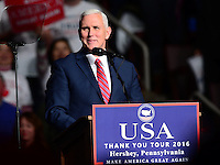 """Hershey, PA - December 15, 2016: Vice president-elect Mike Pence speaks to supporters before he introduces Donald Trump at a rally during the """"Thank You Tour"""" at the Giant Center in Hershey, PA, December 15, 2016.  (Photo by Don Baxter/Media Images International)"""