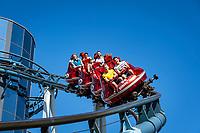 Germany, Baden-Wurttemberg, Rust (Baden): Europa-Park - Euro-Mir roller coaster at Russian themed area   Deutschland, Baden-Wuerttemberg, Rust (Baden) im Ortenaukreis: Europa-Park - Euro-Mir Achterbahn im russischen Themenbereich