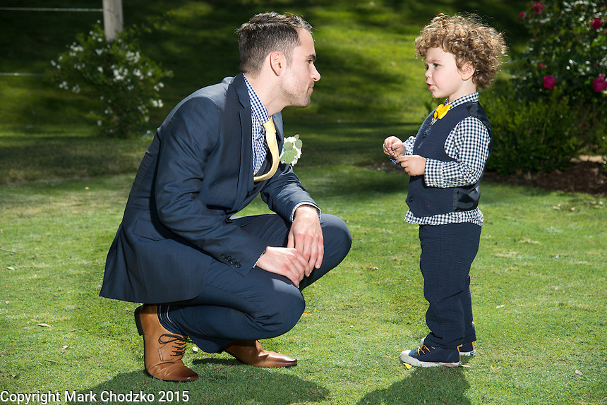 Josh and young ring bearer have a chat.