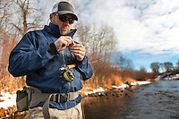Dan Rice, owner of Bozeman Reel, fishes an RS Series reel on a small stream near the company's headquarters in Bozeman, Montana.