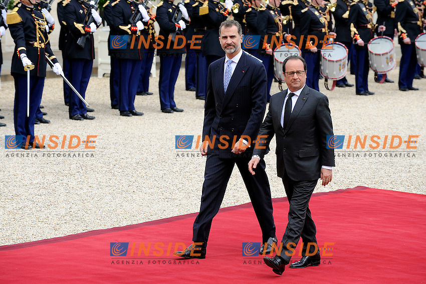Re Filippo VI di Spagna e Francoise Hollande<br /> Parigi, Eliseo 02-06-2015 Vertice Franco Spagnolo<br /> Foto Panoramic / Insidefoto