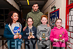 Duagh/Lyre Community Games Awards: Duagh/Lyre community games participants in the national finals who were presented with their awards on Friday night last at Duagh National School by Kerry football star Anthony Maher. L-R: Erin Walsh,bronze medal in Art, Nicola Moloney, silver in Cycling on Grass, Mike Galvin, 6th in U/12 100 metres, Saoirse Dillon, gold in 100 meters & Anthony Maher at back.