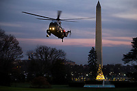 Marine One, with US President Donald J. Trump aboard, lands on the South Lawn of the White House  in Washington DC, USA, 02 December 2017. President Trump was returning from a fundraising trip to New York.<br /> Credit: Shawn Thew / Pool via CNP /MediaPunch