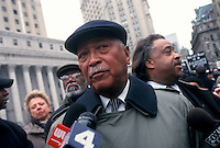 New York, NY - 16 March 1999 - Former New York City Mayor David N Dinkins speaks with the press before his arrest outside One Police Plaza. Former Dinkins, Representative Charles B. Rangel and 12 others were arrested as they staged a protest at Police Headquarters in lower Manhattan over the police killing of Amadou Diallo.