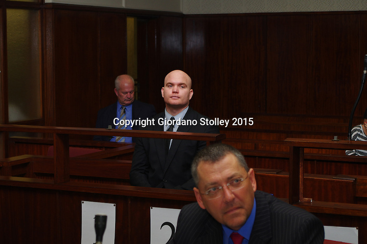 DURBAN - 27 August 2015 - Blayne Shepard, the man who was convicted of culpable homicide for his role in the death of former Royal Marine Brett Williams, sits in the dock at the Durban Regional Court. In the foreground is his lawyer Jacques Botha and behind him in the background is his father Shane Shepard. Shepard, his brother and two others were accused of beating former Royal Marine Brett Williams to death at a Super XV rugby match in 2013. Only Shepard was convicted in connection with the attack. Picture: Allied Picture Press/APP