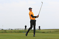 Harvey Byers (ENG) on the 1st tee during Round 1of the Flogas Irish Amateur Open Championship 2019 at the Co.Sligo Golf Club, Rosses Point, Sligo, Ireland. 16/05/19<br /> <br /> Picture: Thos Caffrey / Golffile<br /> <br /> All photos usage must carry mandatory copyright credit (© Golffile | Thos Caffrey)