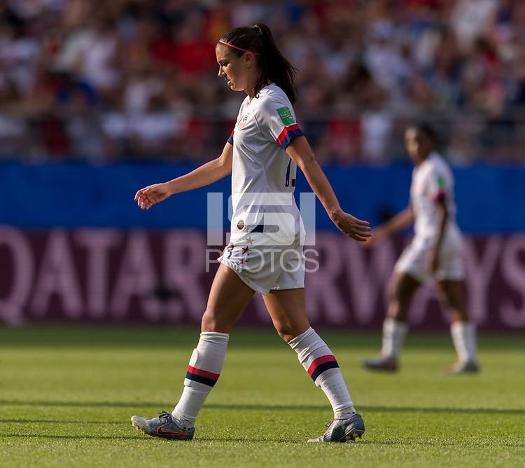 REIMS,  - JUNE 24: Alex Morgan #13 walks off the field during a game between NT v Spain and  at Stade Auguste Delaune on June 24, 2019 in Reims, France.
