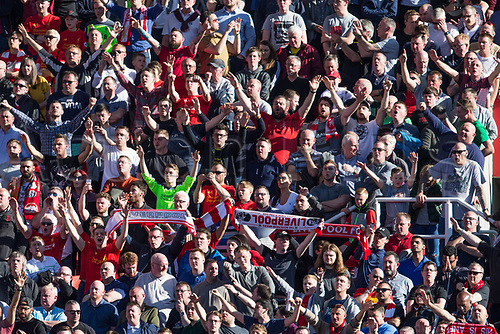 April 8th 2017, bet365 Stadium, Stoke on Trent, Staffordshire, England; EPL Premier League football, Stoke City versus Liverpool; Travelling Liverpool fans celebrate their comeback 2-1 win