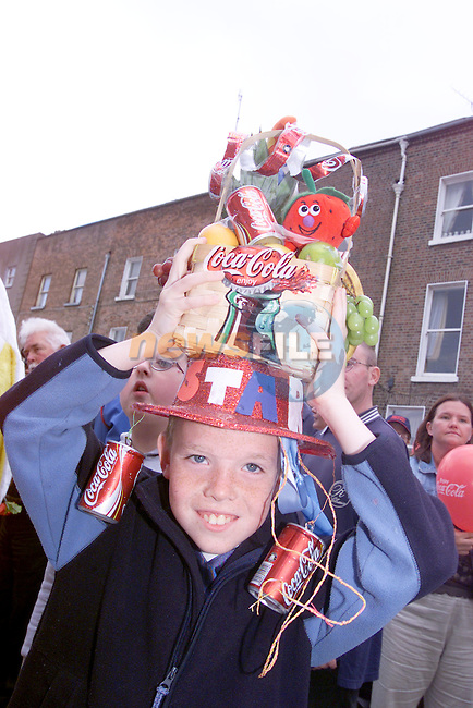 padraic Breen with his hat made for the hat competition at teh Costa Rican Street party in fair Street sponsored by Drogheda Concentrates.Photo Fran Caffrey/Newsfile.ie..This picture has been sent to you by:.Newsfile Ltd,.3 The View,.Millmount Abbey,.Drogheda,.Co Meath..Ireland..Tel: +353-41-9871240.Fax: +353-41-9871260.GSM: +353-86-2500958.ISDN: +353-41-9871010.IP: 193.120.102.198.www.newsfile.ie..email: pictures@newsfile.ie..This picture has been sent by Fran Caffrey.francaffrey@newsfile.ie