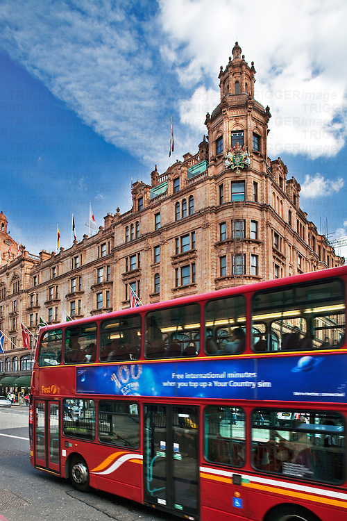 Brompton Road, with Harrods building on the background, London, England, United Kingdom