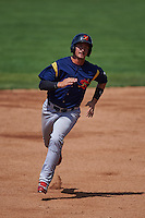 State College Spikes outfielder Jhohan Acevedo (28) running the bases during a game against the Batavia Muckdogs August 23, 2015 at Dwyer Stadium in Batavia, New York.  State College defeated Batavia 8-2.  (Mike Janes/Four Seam Images)