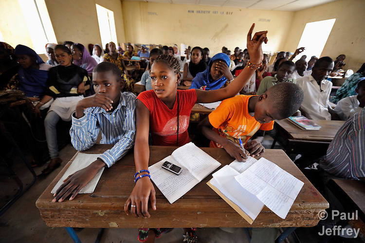 Students in the Bahadon Second Cycle School in Timbuktu, a city in northern Mali which was seized by Islamist fighters in 2012 and then liberated by French and Malian soldiers in early 2013. The jihadis first banned all schools, then under pressure from the community, allowed them to open but with separate classes for boys and girls.