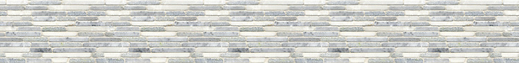 "5"" Momentum border, a hand-chopped stone mosaic, shown in tumbled Celeste, Ming Green, and Thassos."