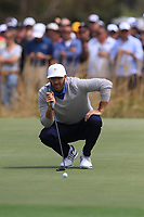 Dustin Johnson (USA) on the 1st green during the Second Round - Foursomes of the Presidents Cup 2019, Royal Melbourne Golf Club, Melbourne, Victoria, Australia. 13/12/2019.<br /> Picture Thos Caffrey / Golffile.ie<br /> <br /> All photo usage must carry mandatory copyright credit (© Golffile | Thos Caffrey)