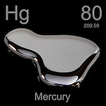 Mercury (Hg), a metal element that is liquid at room temperature.
