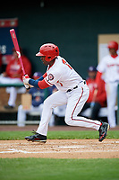 Harrisburg Senators right fielder Daniel Johnson (7) follows through on a swing during the first game of a doubleheader against the New Hampshire Fisher Cats on May 13, 2018 at FNB Field in Harrisburg, Pennsylvania.  New Hampshire defeated Harrisburg 6-1.  (Mike Janes/Four Seam Images)