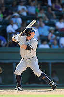 Third baseman Ryan Lindemuth (10) of the Charleston RiverDogs bats in a game against the Greenville Drive on Sunday, June 28, 2015, at Fluor Field at the West End in Greenville, South Carolina. Charleston won, 12-9. (Tom Priddy/Four Seam Images)