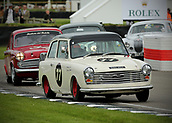 10th September 2017, Goodwood Estate, Chichester, England; Goodwood Revival Race Meeting; An Austin A40 driven by Mike Jordan exits the Goodwood chicane