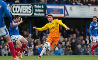 Danny Rowe of Wycombe Wanderers in action during the Sky Bet League 2 match between Portsmouth and Wycombe Wanderers at Fratton Park, Portsmouth, England on 23 April 2016. Photo by Andy Rowland.