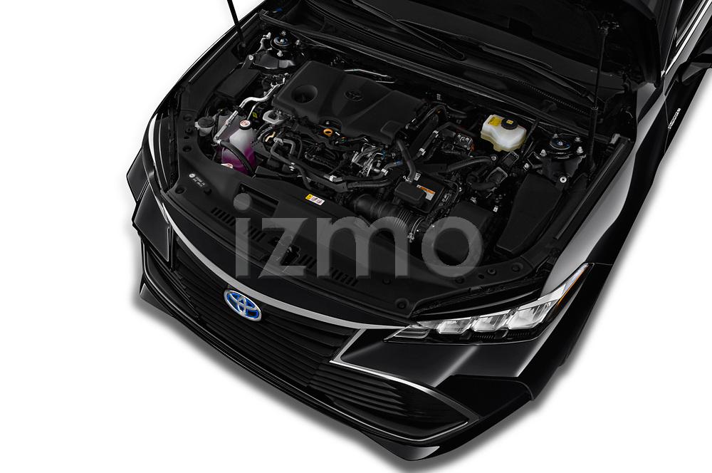 Car stock 2019 Toyota Avalon XLE Hybrid 4 Door Sedan engine high angle detail view