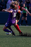 Rochester, NY - Saturday June 11, 2016: Orlando Pride midfielder Maddy Evans (18), Western New York Flash midfielder Samantha Mewis (5) during a regular season National Women's Soccer League (NWSL) match between the Western New York Flash and the Orlando Pride at Rochester Rhinos Stadium.