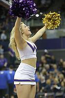 Dec 28, 2015:  Washington cheer member Jordan French entertained fans during a TV timeout.   Washington defeated UC Santa Barbara 83-78 at Alaska Airlines Arena in Seattle, WA.