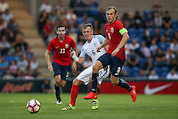 James Ward-Prowse (Southampton) of England plays a pass during the International EURO U21 QUALIFYING - GROUP 9 match between England U21 and Norway U21 at the Weston Homes Community Stadium, Colchester, England on 6 September 2016. Photo by Andy Rowland / PRiME Media Images.