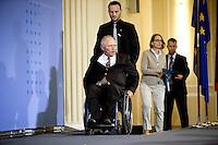 Bundesfinanzminister Wolfgang Schaeuble (CDU) kommt am Donnerstag (08.05.14) im Finanzministerium in Berlin zu einer Pressekonferenz zur Steuersch&auml;tzung vom Mai 2014.<br /> Foto: Axel Schmidt/CommonLens