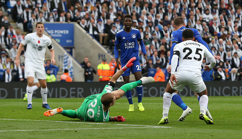 Burnley's goalkeeper Joe Hart spread-eagles himself to block this effort for Leicester City's Jamie Vardy<br /> <br /> Photographer Stephen White/CameraSport<br /> <br /> The Premier League - Saturday 10th November 2018 - Leicester City v Burnley - King Power Stadium - Leicester<br /> <br /> World Copyright © 2018 CameraSport. All rights reserved. 43 Linden Ave. Countesthorpe. Leicester. England. LE8 5PG - Tel: +44 (0) 116 277 4147 - admin@camerasport.com - www.camerasport.com