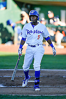 Errol Robinson (9) of the Ogden Raptors at bat against the Missoula Osprey in Pioneer League action at Lindquist Field on July 13, 2016 in Ogden, Utah. Ogden defeated Missoula 8-2. (Stephen Smith/Four Seam Images)