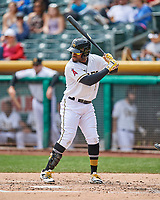 Eric Young Jr. (8) of the Salt Lake Bees at bat against the El Paso Chihuahuas in Pacific Coast League action at Smith's Ballpark on April 30, 2017 in Salt Lake City, Utah. El Paso defeated Salt Lake 3-0. This was Game 1 of a double-header. (Stephen Smith/Four Seam Images)