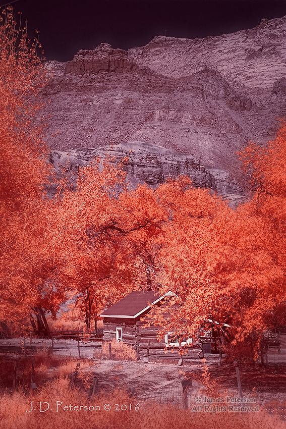 Cabin at Lonely Dell Ranch, Lees Ferry, Arizona (Infrared) ©2016 James D Peterson.  From our 21st century perspective, it's hard to envision how - or why - anyone would live in a rugged and remote place like this, but they did.  This settlement is at the mouth of the Paria River, where it empties into the Colorado.