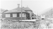 North end of the RGS Placerville depot with Goose #5 loading up to head southward.<br /> RGS  Placerville, CO  8/8/1940