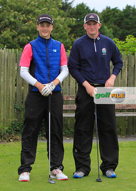 Barry Howling (The Heritage) and Sean Kestell (Woodbrook) on the 1st tee during R2 of the 2016 Connacht U18 Boys Open, played at Galway Golf Club, Galway, Galway, Ireland. 06/07/2016. <br /> Picture: Thos Caffrey | Golffile<br /> <br /> All photos usage must carry mandatory copyright credit   (&copy; Golffile | Thos Caffrey)