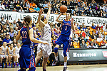 Mar 11, 2015; Portland, OR, USA;  La Salle Prep forward shoots over Hermiston Bulldogs forward Abi Drotzmann in the 5A Girls Basketball State Championship at Gill Coliseum.<br /> Photo by Jaime Valdez
