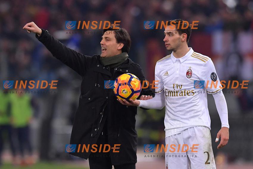 Vincenzo Montella, Milan's coach, Mattia De Sciglio.<br /> Roma 12-12-2016  Stadio Olimpico<br /> Campionato Serie A, Derby<br /> AS Roma - Milan <br /> Foto Antonietta Baldassarre / Insidefoto