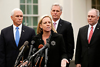 United States Secretary of Homeland Security (DHS) Kirstjen Nielsen briefs reporters following a meeting with the president and congressional leaders on the government shutdown, at the White House, in Washington, D.C., January 9, 2019. Behind Nielsen are from left to right: US Vice President Mike Pence, US House Minority Leader Kevin McCarthy (Republican of California), and US House Minority Whip Steve Scalise (Republican of Louisiana). Photo Credit: Martin H. Simon/CNP/AdMedia