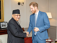 Prince Harry Duke of Sussex meets the Prime Minister of Nepal KP Sharma Oli during a private audience at Kensington Palace, London. Photo Credit: ALPR/AdMedia