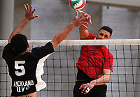 Action from the Volleyball NZ 50th National Club Championship men's division one match between Playaz Tauranga (red) and Auckland Uso at ASB Sports Centre in Wellington, New Zealand on Saturday, 12 October 2017. Photo: Dave Lintott / lintottphoto.co.nz