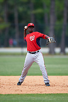 Washington Nationals Marquez Smith (43) during a minor league Spring Training game against the Detroit Tigers on March 28, 2016 at Tigertown in Lakeland, Florida.  (Mike Janes/Four Seam Images)